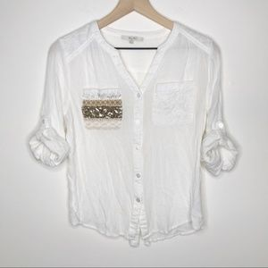 Miss Me 3/4 Sleeve White Button Down + Gold Sequin